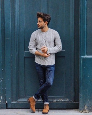 How to wear: grey cable sweater, navy skinny jeans, tobacco suede casual boots