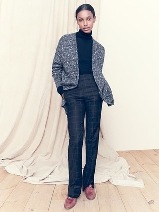 How to wear: grey knit cardigan, black turtleneck, black check flare pants, brown leather tassel loafers