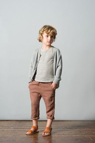 How to wear: grey cardigan, grey horizontal striped t-shirt, brown jeans, tobacco sandals