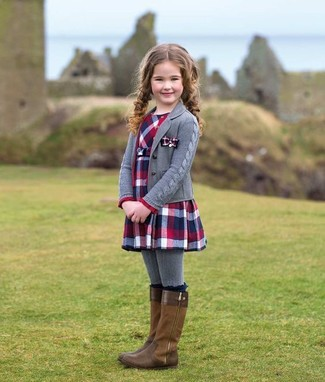 How to wear: grey cardigan, red and navy plaid dress, brown boots, grey tights