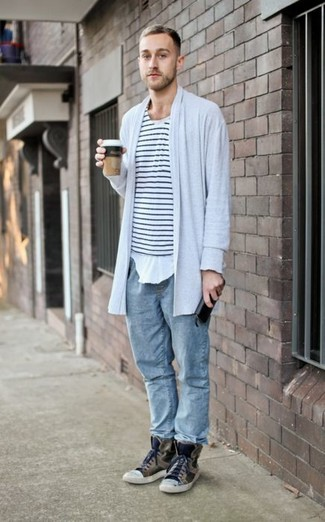 Men's Grey Cardigan, White and Black Horizontal Striped Crew-neck ...
