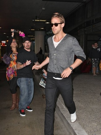 Ryan Gosling wearing Grey Cardigan, White Crew-neck T-shirt, Black Jeans, White Plimsolls