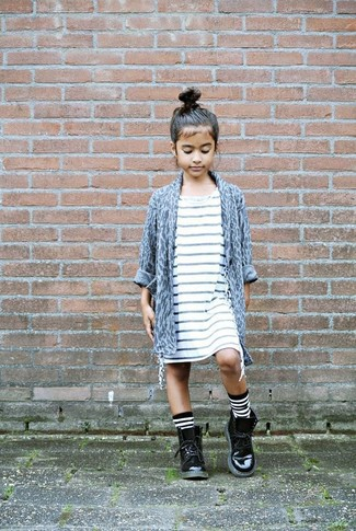 How to wear: grey leopard cardigan, white horizontal striped dress, black leather boots, white and black horizontal striped socks