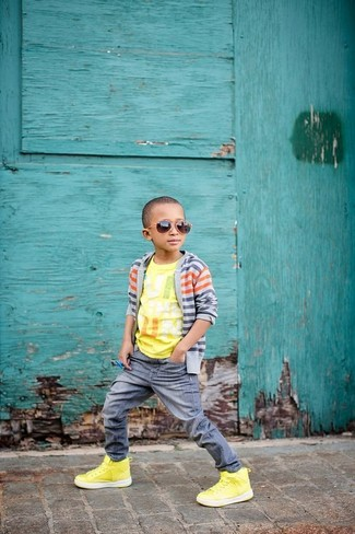 Boys' Grey Cardigan, Yellow Print T-shirt, Grey Jeans, Yellow Sneakers