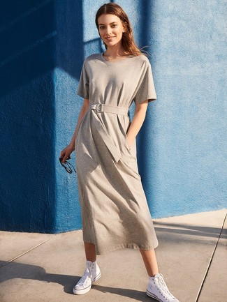 How to wear: grey casual dress, white canvas high top sneakers