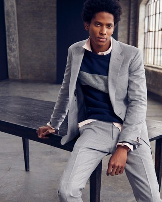 How To Wear a Long Sleeve Shirt With a Suit: Up your sartorial game in this pairing of a suit and a long sleeve shirt.