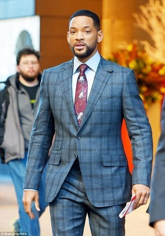How to wear: grey check suit, white dress shirt, burgundy print tie