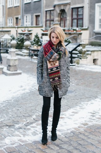 How to wear: grey coat, black leggings, black suede knee high boots, multi colored print scarf