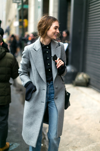 How to wear: grey coat, black long sleeve blouse, light blue flare jeans, black leather crossbody bag