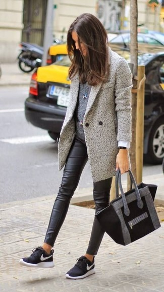 Dress in a grey coat and black leather leggings to achieve a chic look. Dress down your getup with sneakers. This combo is a pretty nice option, especially for autumn, when the temperature is falling.