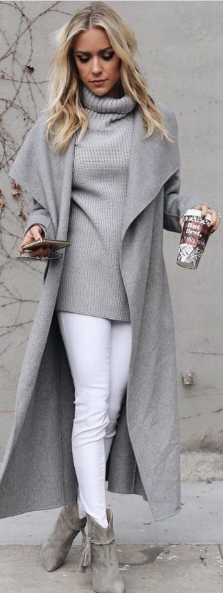 How to wear: grey coat, grey cowl-neck sweater, white skinny jeans, grey suede ankle boots