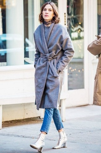 Alexa Chung wearing Grey Coat, Grey Crew-neck Sweater, Blue Skinny Jeans, Silver Leather Ankle Boots