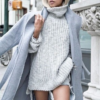 How to wear: grey coat, grey knit turtleneck, light blue ripped jeans