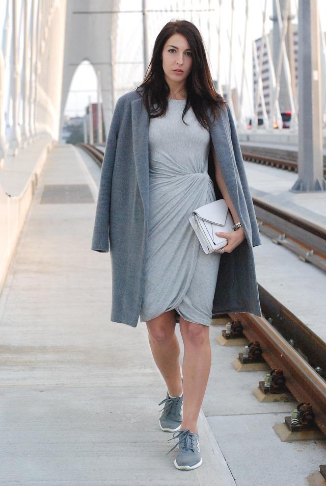 Women&39s Grey Coat Grey Sheath Dress Grey Low Top Sneakers White