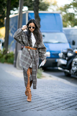 Women's Grey Plaid Coat, Grey Sweater Dress, Tan Suede Over The Knee Boots, Brown Leather Belt