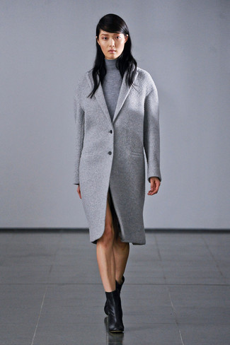 How to wear: grey coat, grey turtleneck, black leather ankle boots