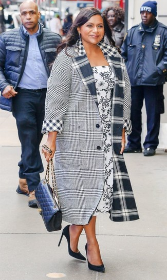 How to wear: grey plaid coat, white and black print midi dress, black suede pumps, navy quilted leather crossbody bag