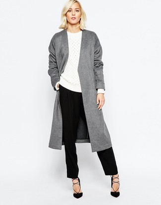 How to wear: grey coat, white cable sweater, black dress pants, black suede pumps