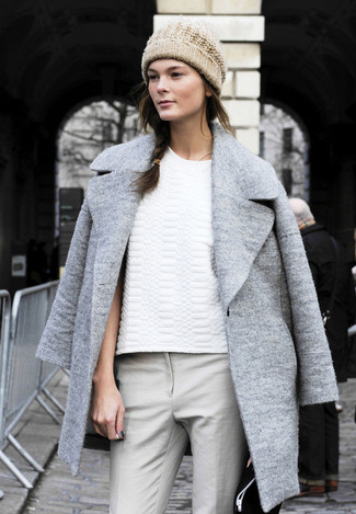 Grey coat white crew neck t shirt grey skinny pants beige beanie large 1216