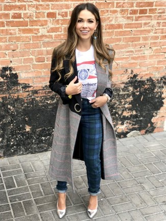 A Vivienne Westwood Anglomania T Shirts and navy plaid skinny pants will give off this very sexy and chic vibe. Why not introduce silver leather pumps to the mix for an added touch of style? We guarantee this outfit is the answer to all of your transitional wear problems.