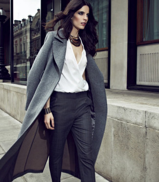 How to wear: grey coat, white sleeveless top, charcoal dress pants, black necklace