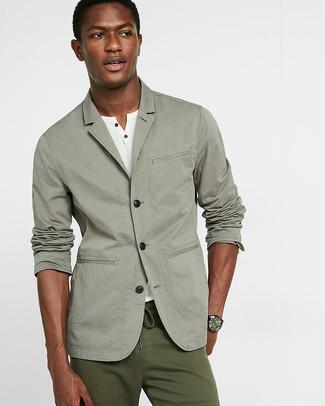 Men's Grey Cotton Blazer, White Henley Shirt, Olive Chinos