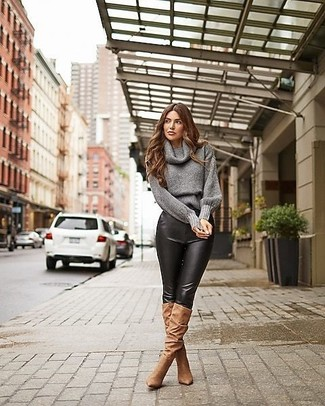 How to Wear a Grey Cowl-neck Sweater For Women: Dress in a grey cowl-neck sweater and black leather skinny pants to feel confident and look seriously stylish. Feeling venturesome today? Spice up this ensemble by rocking brown suede knee high boots.