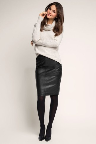 How to wear: grey cowl-neck sweater, black leather pencil skirt, black leather pumps, black tights