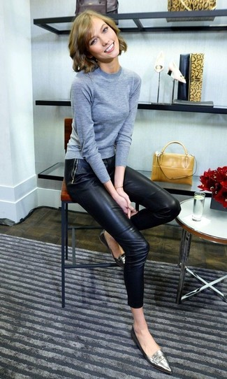 How to wear: grey crew-neck sweater, black leather skinny pants, silver leather loafers, mustard leather handbag