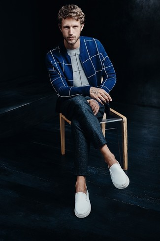 How to wear: grey check crew-neck sweater, blue check zip sweater, navy wool dress pants, white slip-on sneakers