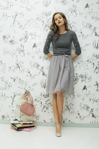 How to wear: grey embellished crew-neck sweater, grey tulle full skirt, beige leather pumps, pink suede crossbody bag