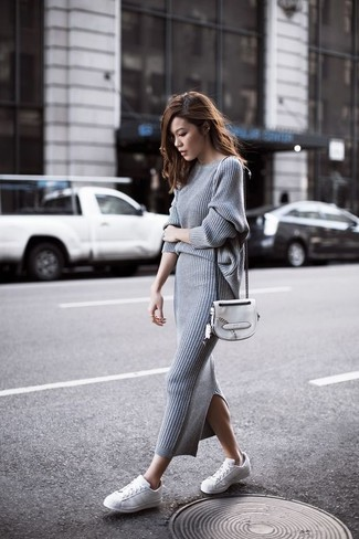 Women's Grey Crew-neck Sweater, Grey Knit Midi Skirt, White Leather Low Top Sneakers, White Leather Crossbody Bag