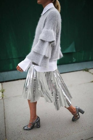 How to wear: grey crew-neck sweater, white dress shirt, silver pleated midi skirt, silver sequin pumps
