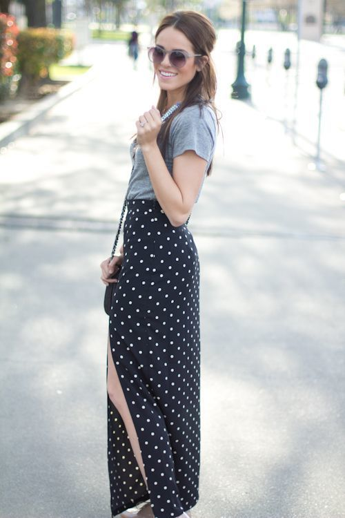 How to Wear a Black and White Maxi Skirt (59 looks) | Women's Fashion