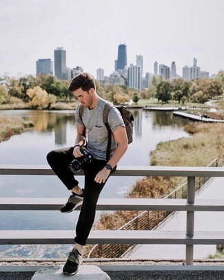 Which Crew-neck T-shirt To Wear With Multi colored Athletic Shoes For Men: The functionality of a crew-neck t-shirt and black sweatpants makes them investment-worthy pieces. Complete this outfit with a pair of multi colored athletic shoes and the whole ensemble will come together.