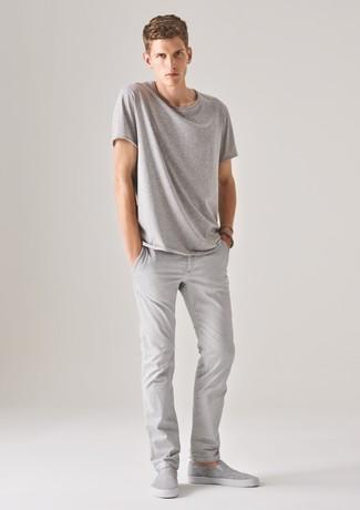Men's Grey Crew-neck T-shirt, Grey Chinos, Grey Slip-on Sneakers