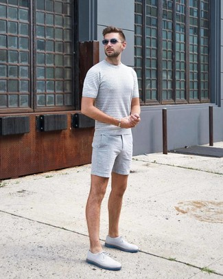 How to wear: grey knit crew-neck t-shirt, grey shorts, white leather derby shoes, charcoal sunglasses