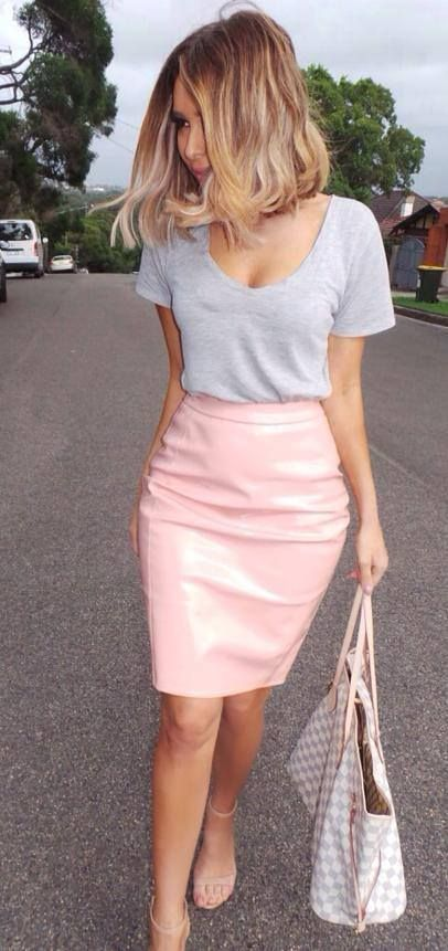 How to Wear a Pink Leather Pencil Skirt (5 looks) | Women's Fashion