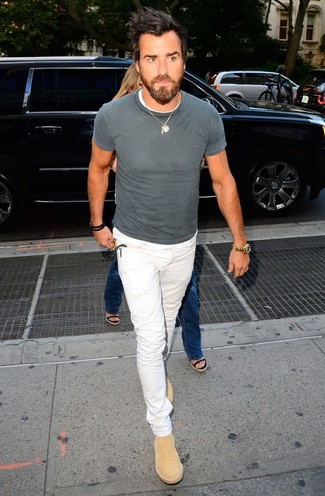 How to wear: grey crew-neck t-shirt, white jeans, tan suede chelsea boots