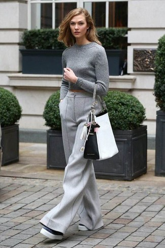 How to wear: grey cropped sweater, grey wool wide leg pants, black and white leather platform loafers, white and black leather tote bag