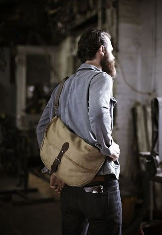 Men's Grey Denim Jacket, Black Jeans, Tan Canvas Messenger Bag
