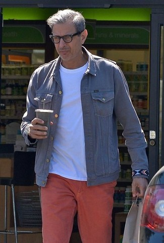 4acef0a3ba ... Jeff Goldblum wearing Grey Denim Jacket