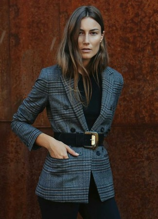 Pair a grey tartan double breasted blazer with black fitted pants for a refined yet off-duty ensemble.