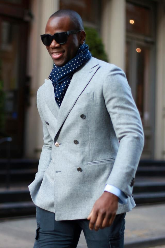 3e0170d12e83 Men s Grey Double Breasted Blazer, Light Blue Dress Shirt, Charcoal Chinos,  Navy Polka Dot Scarf   Men s Fashion