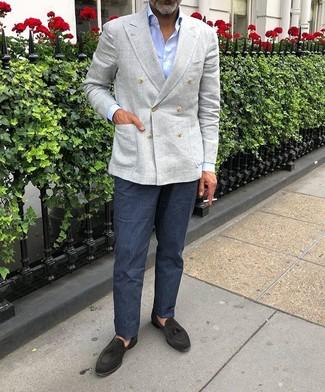 How to wear: grey linen double breasted blazer, light blue dress shirt, navy linen dress pants, black suede tassel loafers