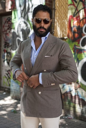 Something as simple as opting for a grey double breasted blazer and a Saks Fifth Avenue Collection Linen Pocket Square Set can potentially set you apart from the crowd. This one will play especially well when hot weather hits.