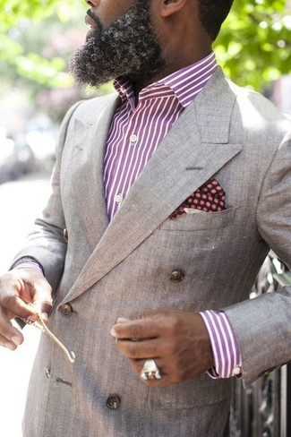 How to wear: grey double breasted blazer, purple vertical striped dress shirt, burgundy polka dot pocket square