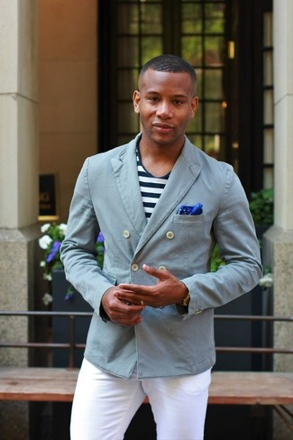 How to wear: grey double breasted blazer, white and navy horizontal striped crew-neck t-shirt, white chinos, blue pocket square