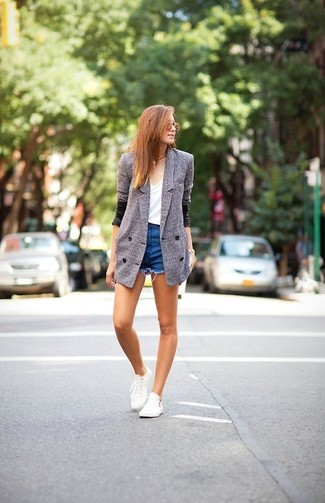 How to wear: grey double breasted blazer, white crew-neck t-shirt, blue denim shorts, white low top sneakers
