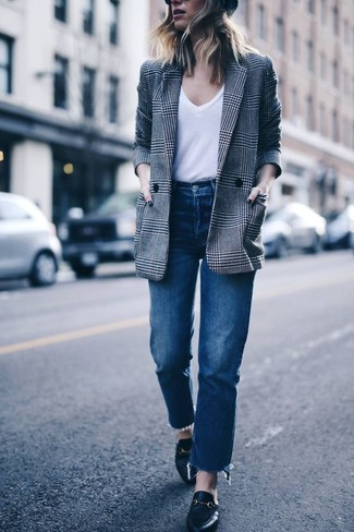 How to wear: grey plaid double breasted blazer, white v-neck t-shirt, blue jeans, black leather loafers